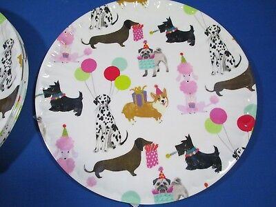 CYNTHIA ROWLEY DOG BIRTHDAY PARTY MELAMINE PLATE SET OF 6 DACHSHUND POODLE *NEW*