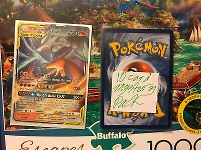 NM Pokemon RESHIRAM & CHARIZARD GX Card UNBROKEN BONDS Set 20/214 Rare Tag Team
