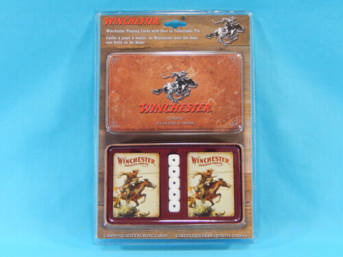 Winchester Playing Cards w/ Dice in Collectable Tin 2 Decks 5 Dice New Sealed