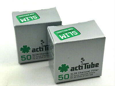 ActiTube SLIM Aktivkohlefilter 2x50er Aktivkohle Filter - 7mm Filter Joint Tips