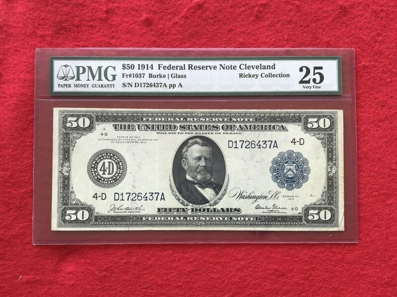 FR-1037 1914 Series $50 *BURKE-GLASS*  Cleveland Federal Reserve Note *PMG25 VF*