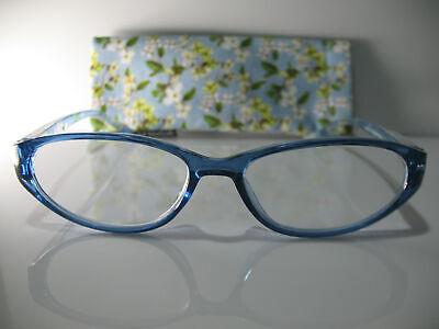 Foster Grant Annabelle Blue Flower Catseye Reading Glasses w Case 2.00 2.50 (Catseye Glasses Case)