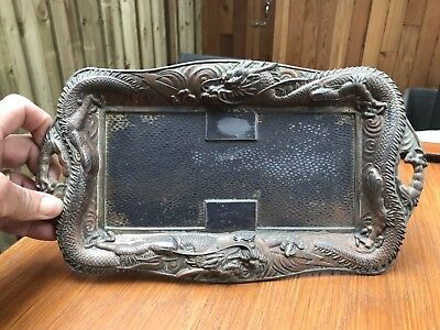 Brass Or Pewter Japanese Dragon Tray.