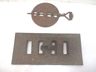 """2 Cast Iron Air Vent Dampers 12"""" Oblong & 6"""" Round Stove Pipe Coal Steampunk"""