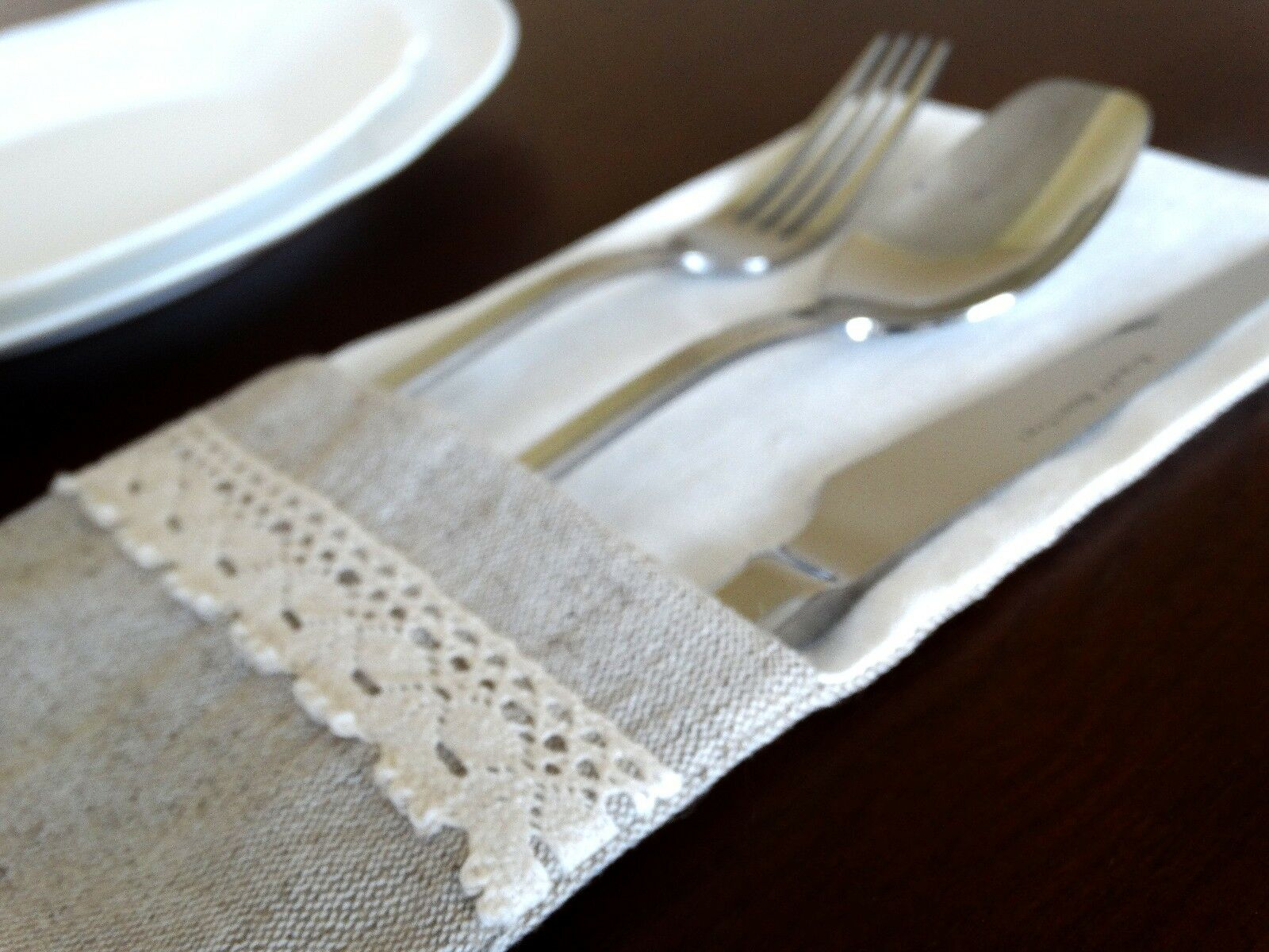 Linen cloth Cutlery Holder  Wedding Party Tableware Pouch