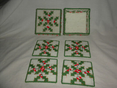 #49 COMPLETED CM P Canvas Ndlpt (4) COASTERS w/Box FESTIVE HOLLY Design