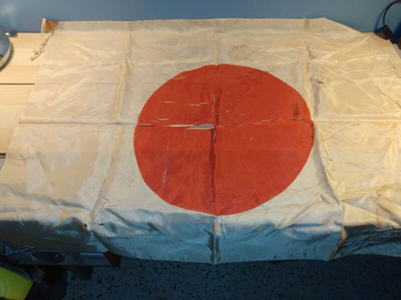 WW2 Japanese Silk Flag Rising Sun 33x27 Torn, Worn and Stained