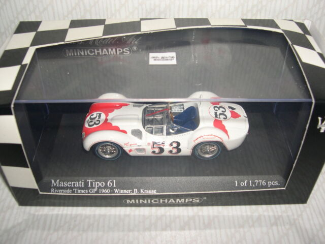Minichamps Maserati Tipo 61 Riverside Times GP Winner 1960 Krause REF:400 601253
