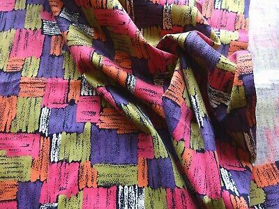 Vintage Mid Century Cotton Interiors Fabric Geometric Painterly 39