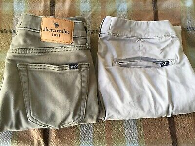 2 PAIRS of Boys Abercrombie and Hollister pants Sizes 28/30