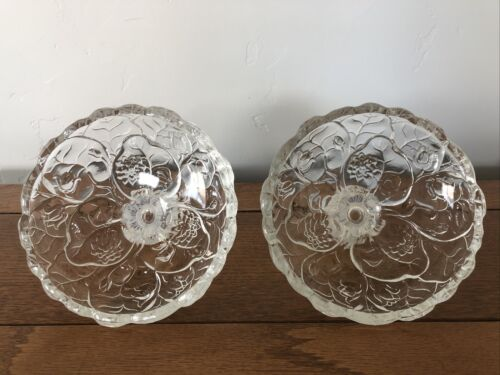 FENTON OPALESCENT WATER LILY PATTERN CANDLESTICK HOLDER PAIR - $18.99