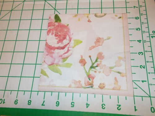 """Two Decorative Luncheon Napkins for Decoupage """"Patina Vie Pink"""""""