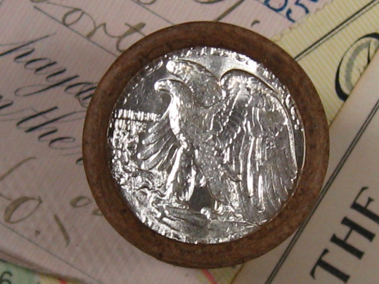 (ONE) FNB DENVER WALKING LIBERTY SILVER HALF DOLLAR ROLL UNC ENDS