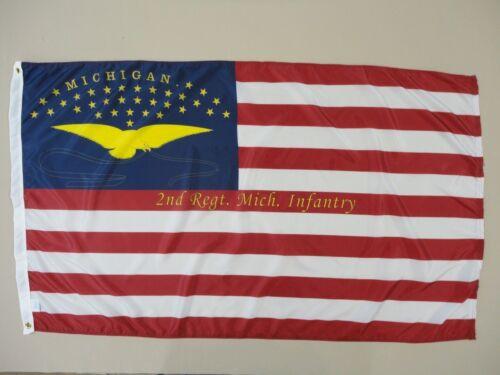 2nd Michigan Infantry Regt Historical Indoor Outdoor Nylon Flag Grommets 3