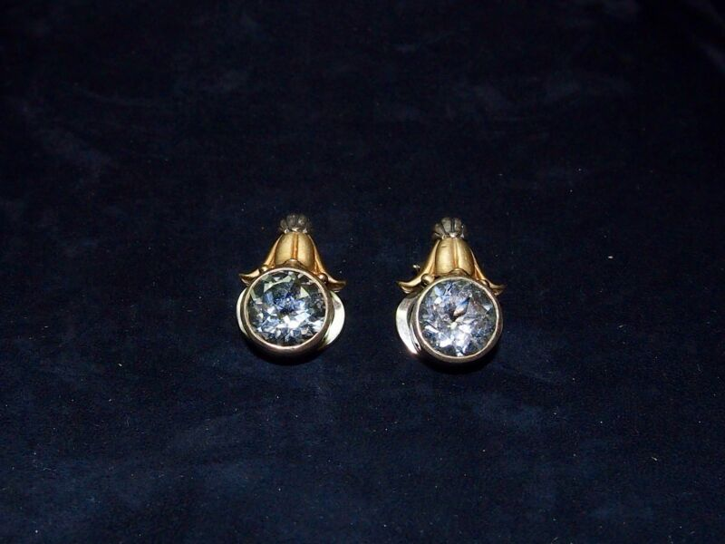 Antique Caviar 925 sterling silver earrings with 18 kt gold and zirconia stones