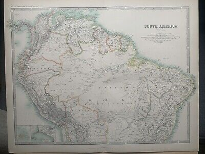 1912 South America (North part) Large Original Antique Map by W. & A.K. Johnston