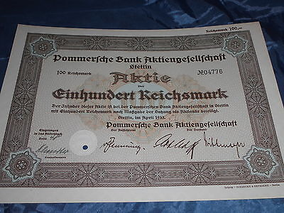 675 : histor. Wertpapier / Deutsche Aktie , Bank Pommern / Stettin , April 1933