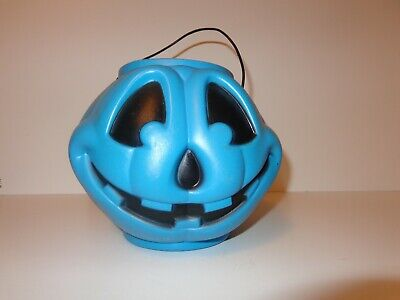 "Vtg Blow Mold Candy Pail Pumpkin Face Halloween Trick or Treat Blue 9""x7"""