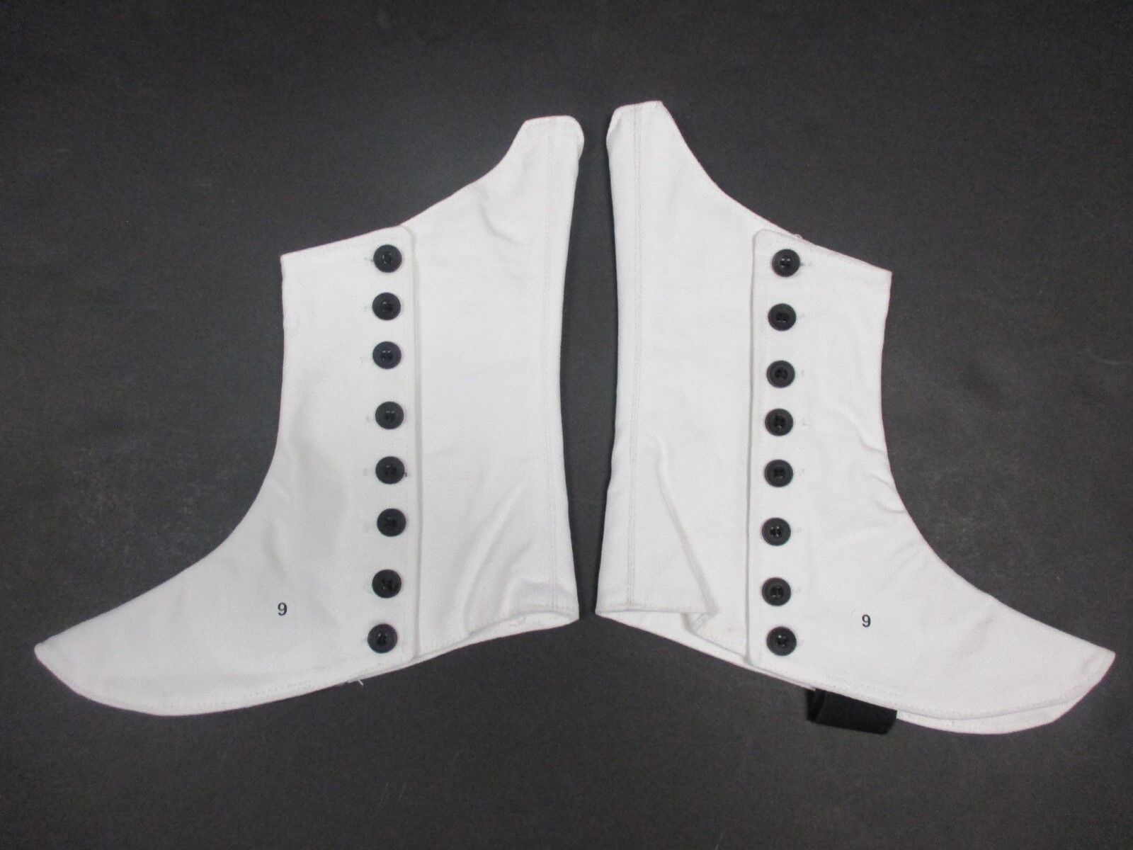 White Canvas Spats Shoe Covers W/ Black Button Side Band ...