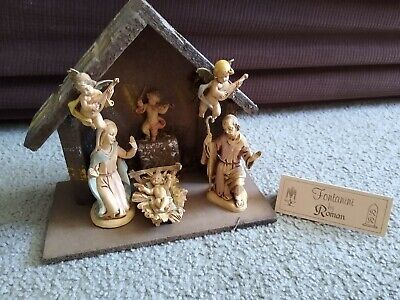 DEPOSE ITALY FONTANINI by Roman 8 PIECE NATIVITY SET with Wooden musical Manger