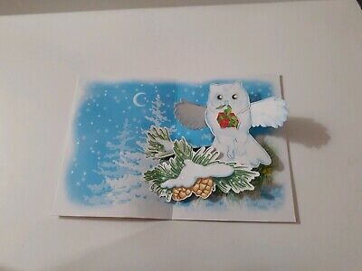 Handmade 3D Pop-up Holiday Cards  OWL 3d Pop Up Christmas Cards