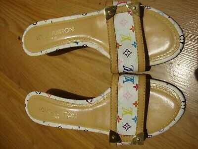 Louis Vuitton White Multicolor LV Monogram Women's Sandals Shoes Size 37