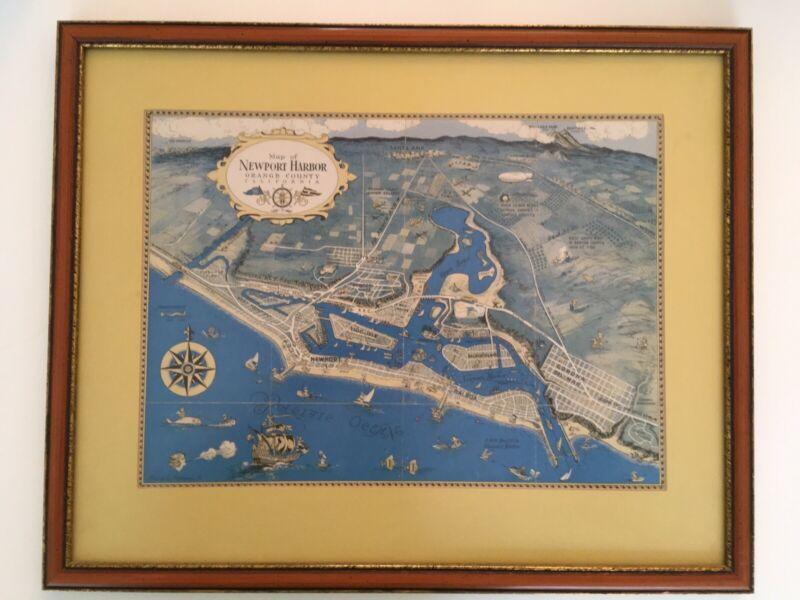 "1949 Map Of Newport Harbor,Orange County Calif. In Orginal Frame 20""by17"""