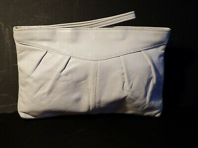 Vintage 1980's White Genuine Leather Handbag Purse Bag Small Clutch Wristlet