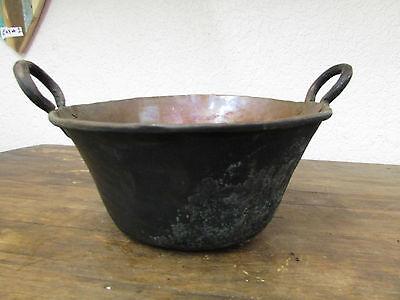 Antique Mexican Copper Bowl #8-Old Cazo-Rustic-Primitive-15Wx6D-Beauty-Solid