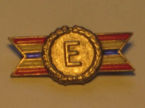 vintage ARMY NAVY Sterling silver brooch pin Production Award E ribbon wreath