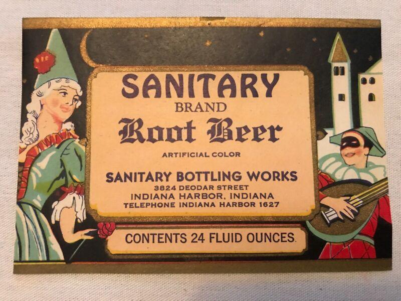 SANITARY Root Beer Vintage Bottle Label, Indiana Harbor, Indiana