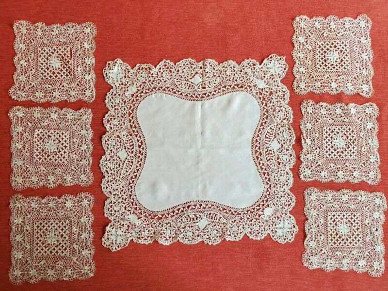 Stunning Antique Handmade Silk Lace Doily Set