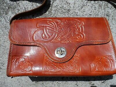 Real Irish Leather - Vintage genuine leather Irish Celtic pattern handbag purse - Quality