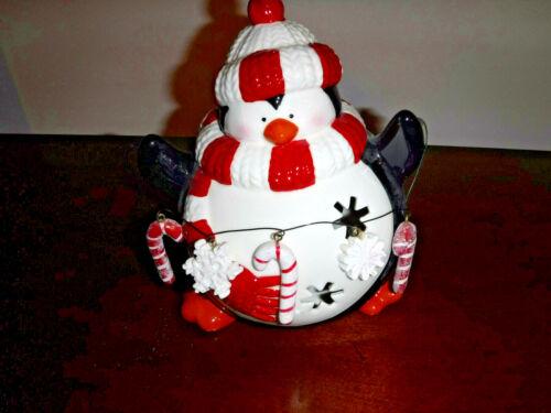 Penguin Whimsical  Snowball Illuminating Tealight/Votive Holder Ceramic NWT