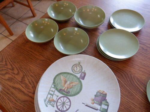Vintage 12 Piece TEXAS WARE Avocado Green MELMAC Dishes