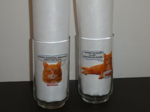 Vintage 80s 2  9-Lives Morris the Cat 12oz Promotion Drinking Glasses SO CUTE