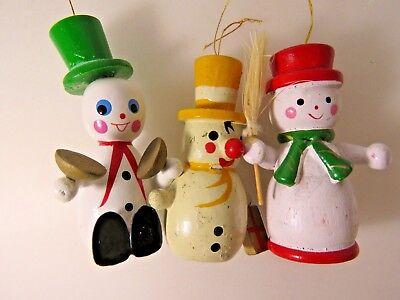 3 Vintage Wooden Snowman Christmas Ornaments Lot Decoration #9895