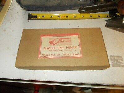 Temple Tags Animal Ear Tag Livestock Cattle Sheep Goat Pig Old Vintage In Box