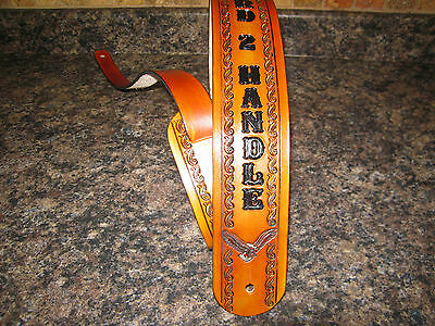 HAND TOOLED LEATHER GUITAR STRAP WITH NAME ( PERSONALIZED) TAN/ MED. BROWN EAGLE ()