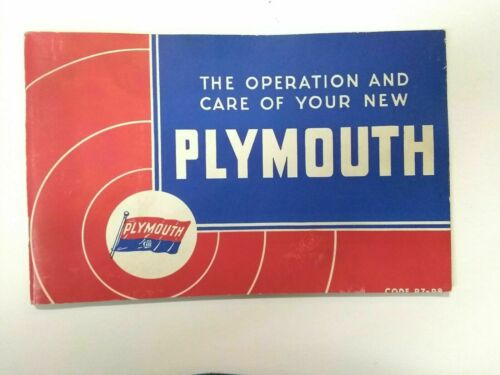 RARE 1938 Operators Manual Booklet For The Operation & Care Of Your New Plymouth