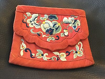 ANTIQUE 1920'S JAPANESE EMBROIDERED SILK FLOWERS & BUTTERFLIES PURSE