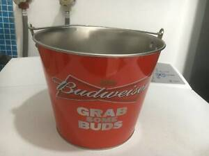 budweiser grab some buds metal ice bucket some scratches inside