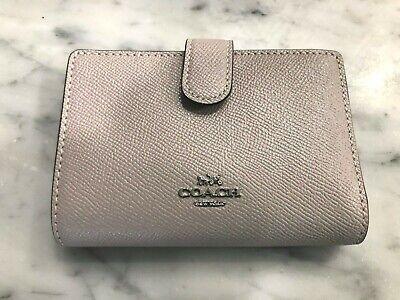 Coach F23553 Medium Corner Zip Compact Wallet Crossgrain Leather Grey Birch $168