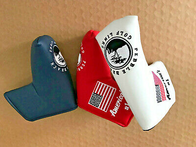 1x Golf Cover Blade Mallet Headcover Golf Links For Pebble Beach Putter US Flag