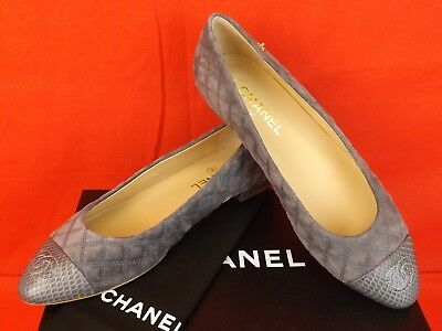 NIB CHANEL G31911 GRAY QUILTED SUEDE PYTHON CAP TOE CC LOGO CAMELLIA FLATS 39.5