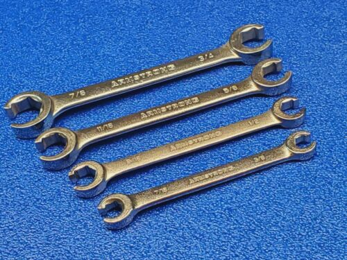 """VINTAGE ARMSTRONG USA FLARE NUT LINE WRENCH SET 4pc. 3/8"""" - 7/8"""" SHIPS FREE LOT"""