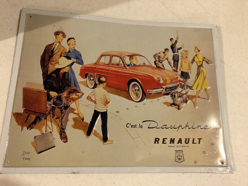Renault Dauphine Tin Advertising Sign