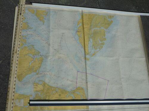 4 Original 50's Chesapeake Bay Nautical Maps Vtg VA