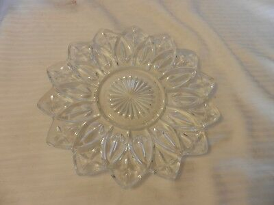 Star Shape Clear Cut Glass Cookie or Cracker Serving Tray, Starburst Center
