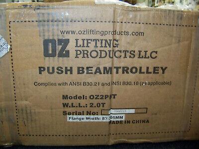 Oz Lifting Products Push Beam Trolley Flange Width 87.305mm 2 Ton Yellow Oz2pbt